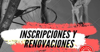 Inscripciones y renovaciones temporada 2020-21